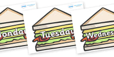 Days of the Week on Sandwiches to Support Teaching on The Lighthouse Keeper's Lunch