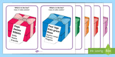 'What's In The Box?' Drawing Inferences Cards Words Only English/Italian