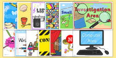 Classroom Area Signs for Early Years and KS1
