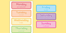 Days of the Week Word Cards Polish Translation