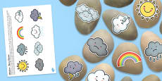 Weather Themed Story Stones Image Cut Outs