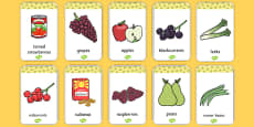 Harvest Produce Flash Cards