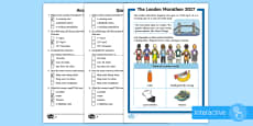 KS1 London Marathon Differentiated Comprehension Go Respond Activity Sheets
