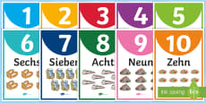 Numbers One to Ten Display Posters German