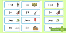 'fr' and 'f' Near Minimal Pair Word Cards