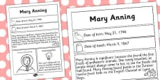 Mary Anning Significant Individual Fact Sheet