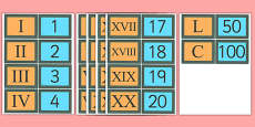Roman Numerals Matching Card Snap Game