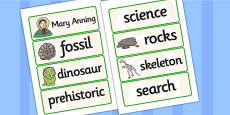 Mary Anning Word Cards