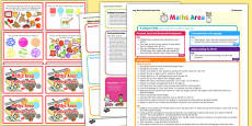 Maths Area Continuous Provision Plan Poster and Challenge Cards Pack Reception FS2