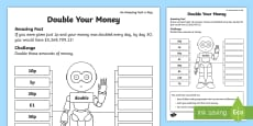* NEW * Double Your Money Activity Sheet
