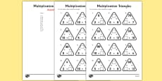 Multiplication Triangles Activity Sheet 2, 5 and 10 Times Tables