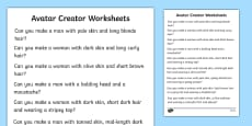 Avatar Creator Worksheets