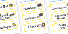 Yellow Themed Editable Additional Classroom Resource Labels