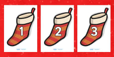 Numbers 0-30 on Christmas Stockings