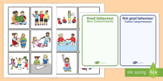 Classroom Behaviour Sorting and Discussion Cards Italian/English