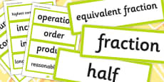 Year 6 2014 Curriculum Fractions Decimals and Percentages Vocabulary Cards