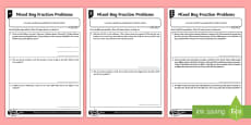 * NEW * Mixed Bag Fraction Problems Differentiated Activity Sheets