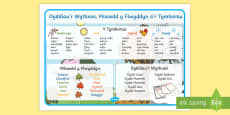 Days, Months and Seasons Word Mat Cymraeg
