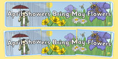 April Showers Bring May Flowers Display Banner