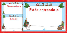 Christmas Editable Class Welcome Signs Spanish