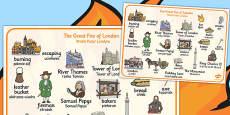 The Great Fire of London Word Mat Polish Translation