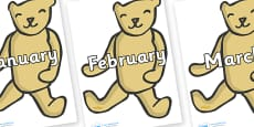 Months of the Year on Old Teddy Bears