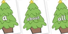 100 High Frequency Words on Christmas Trees (Plain)