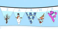 Winter Display Lettering Bunting Romanian