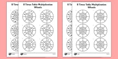 8 Times Table Multiplication Wheels Activity Sheet Pack