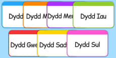 Days of the Week Flashcards Cymraeg