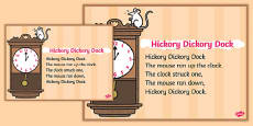 Hickory Dickory Dock Nursery Rhyme Poster