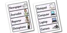 Newspaper Office Role Play Labels