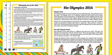 KS1 Rio Olympics 2016 Differentiated Reading Comprehension Activity Romanian Translation
