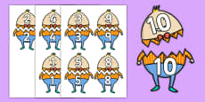 Humpty Dumpty Matching Numbers to 10 Activity