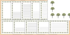 Elm Tree Themed Page Borders