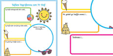 Summer Holiday Write Up Activity Sheet Welsh