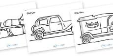 Old Transport Colouring Sheets