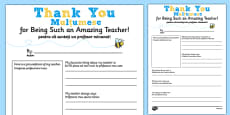 Teacher Thank You Letter Romanian Translation