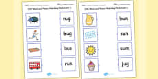 CVC Word and Picture Matching Activity Sheets u