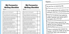 Persuasive Writing Student Checklist
