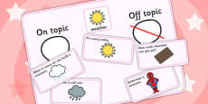 On Topic Off Topic Conversation Sorting Game Weather
