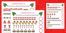 Counting at Christmas Activity Sheet Up to 20 Romanian