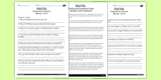 Differentiated Reading Comprehension Activity to Support Teaching on Matilda