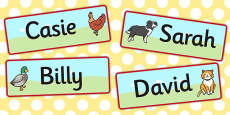 The Little Red Hen Editable Drawer Peg Name Labels