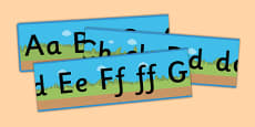 Ground, Grass, Sky Upper and Lowercase Alphabet Strip