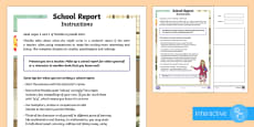 Writing a Report Card to support Teaching on Matilda Go Respond Activity Sheet