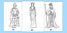 Ancient Greek Figures Colouring Pages