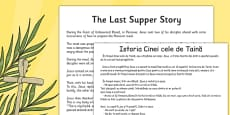 The Last Supper Story Sheet Romanian Translation