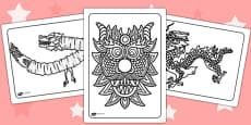 Chinese Dragon Mask Colouring Pages - Australia
