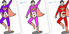 A-Z Alphabet on Superheroes (Multicolour)